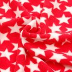 Red microfleece with white stars - buy from Cuddle Plush Fabrics