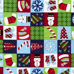 Christmas-Clipart-Checkerboard-Cotton-Fabric