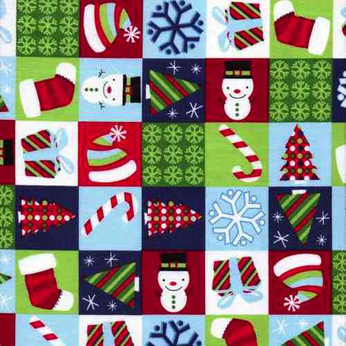 Christmas-Clipart-Checkerboard-Cotton-Fabric