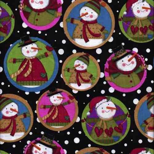 Christmas-Smiley-Snowmen-Cotton-Fabric