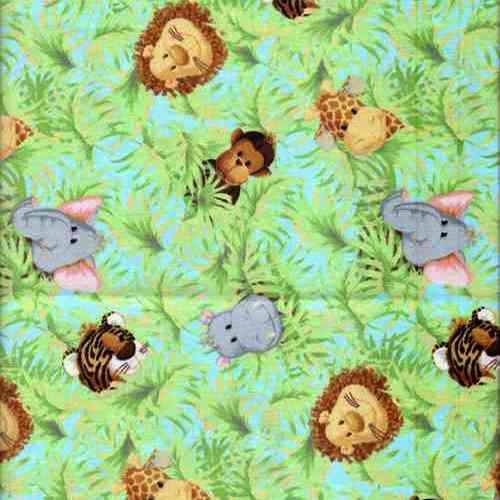 Jungle animals cotton fabric cuddle plush fabrics for Childrens jungle fabric