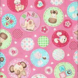 Pink-Nursery-Animals-Cotton-Fabric
