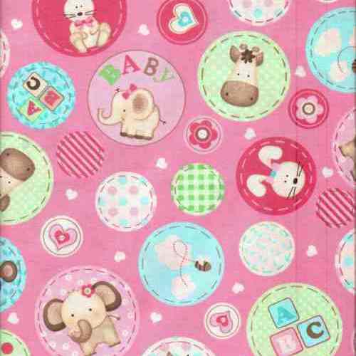 Cotton fabric in cute designs for baby bibs and burp for Pink nursery fabric