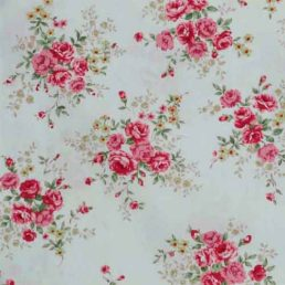 Rose on Ivory Cotton Fabric