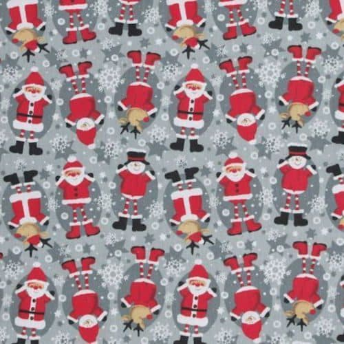 Santa, Snowman and Rudolph Grey Cotton Fabric