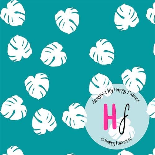 Monstera Teal Cotton Jersey Fabric