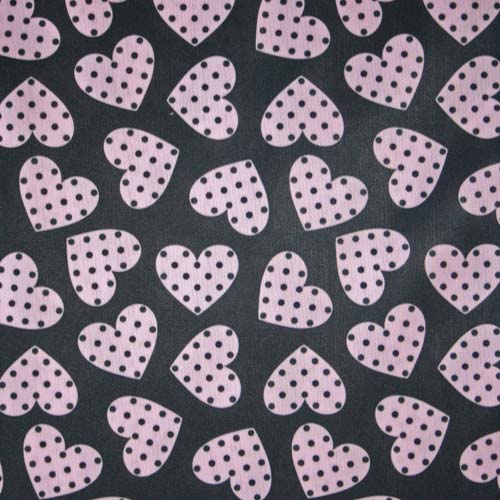 Beau Fab 2 mil PUL Black and Pink Hearts