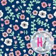 Florals Navy Cotton Jersey Fabric