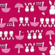 Bunnies on Cerise Cotton Fabric