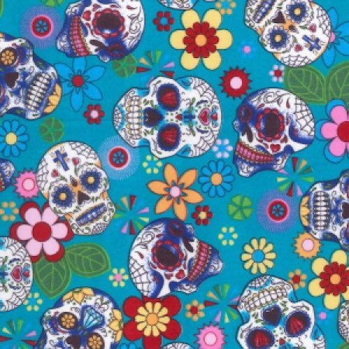 Day of the Dead Aqua Cotton Fabric