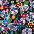 Day of the Dead Black Cotton Fabric