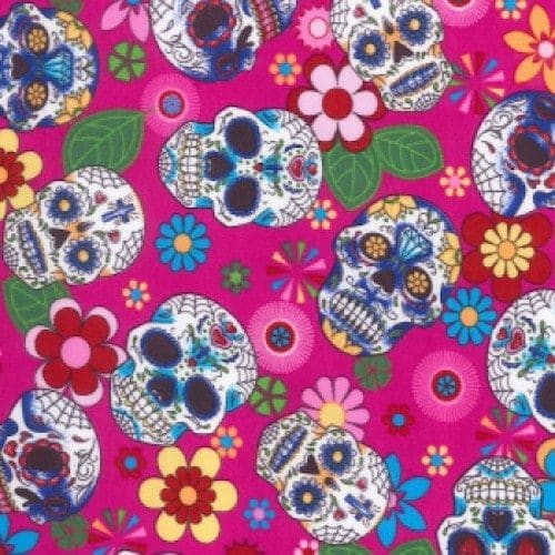 Day of the Dead Pink Cotton Fabric