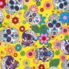 Day of the Dead Yellow Cotton Fabric