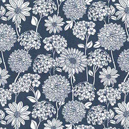 Steel Flowers Cotton Fabric