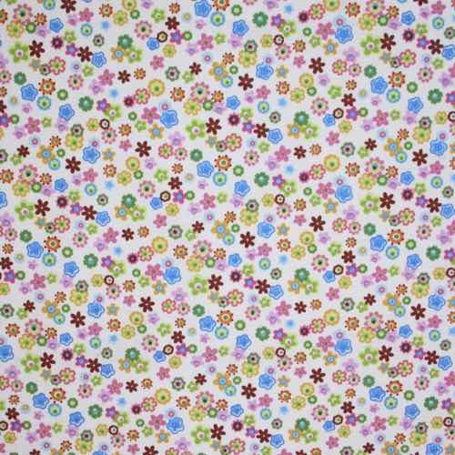 Flower Stamp Cotton Fabric