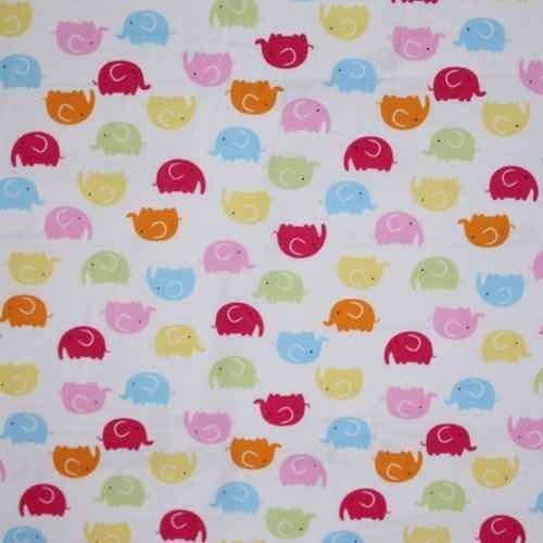 Rainbow Elephants Cotton Fabric