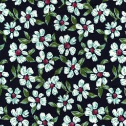 Navy Flowers Cotton Fabric