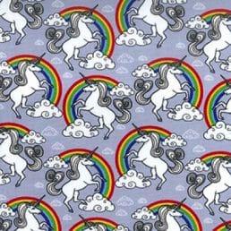 Silver Unicorns Cotton Fabric