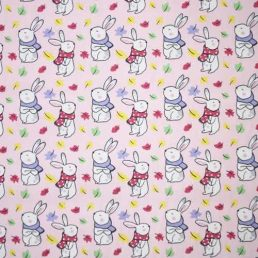 Bunnies on Pink Cotton