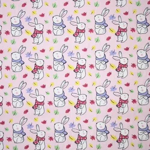 Bunnies on Pink Cotton