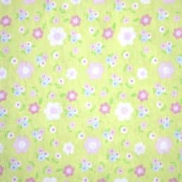 Cotton Flannel (Wynciette) Flowers on Pale Green