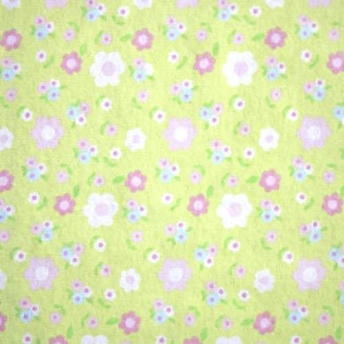 Cotton Flannel (Wynciette) Flowers on Pale Green