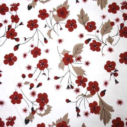 Red Flowers on Ivory Cotton