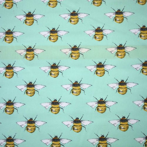 Honey Bees Mint Cotton Fabric