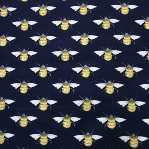 Honey Bees Navy Cotton Fabric