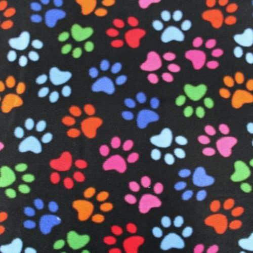Black Rainbow Dog Paw Anti Pil Polar Fleece