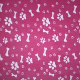 Pink Dog Paws and Bones Anti Pil Polar Fleece