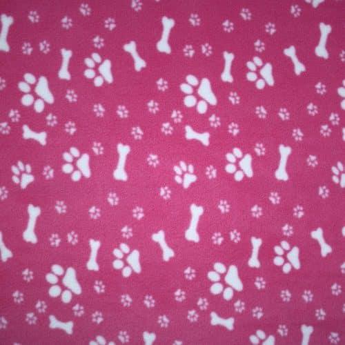 Pink Dog Paws and Bones Anti Pil Polar Fleece