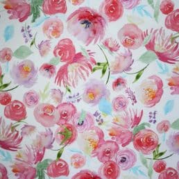Pink Flowers Cotton Jersey Fabric