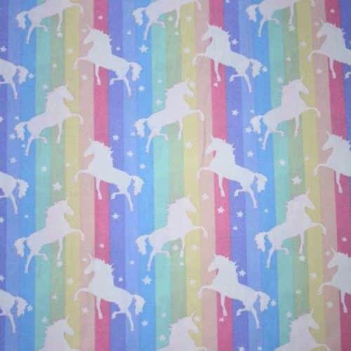 Soft Stripe Unicorns Cotton Fabric