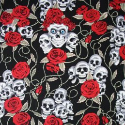 Skulls and Roses Cotton Fabric