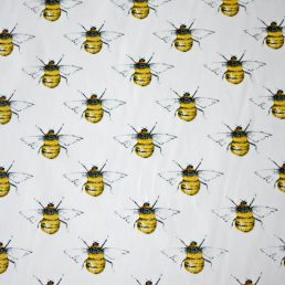 Honey Bees on Ivory Cotton Fabric