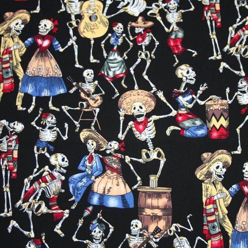 Skeleton Fiesta Cotton Fabric