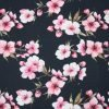 Pink Blossoms on Navy Cotton Jersey Fabric