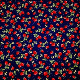 Strawberry Patch Navy Cotton Fabric