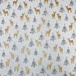 Forest Reindeers Sparkle Christmas Cotton