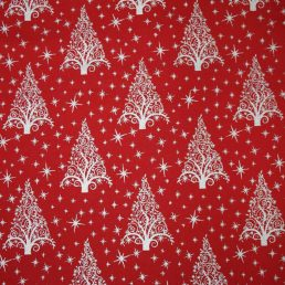 Red Christmas Tree Sparkle Christmas Cotton