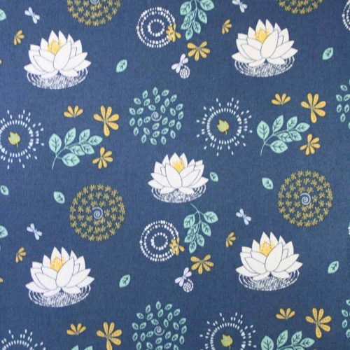 Leaf Circle Blooms Blue Organic Cotton Fabric
