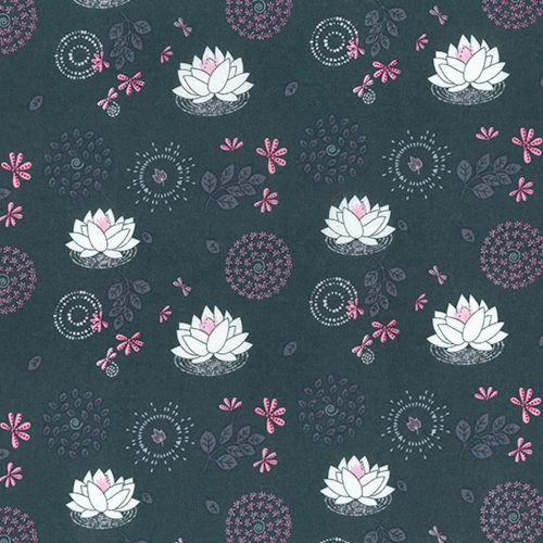 Leaf Circle Blooms Grey Organic Cotton Fabric