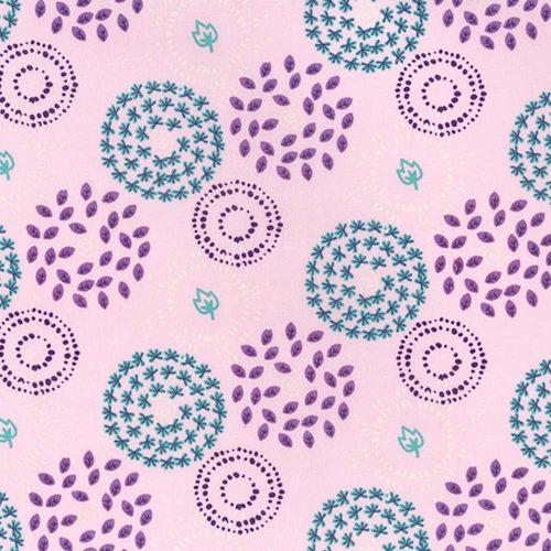 Leaf Circles Pink Organic Cotton Fabric