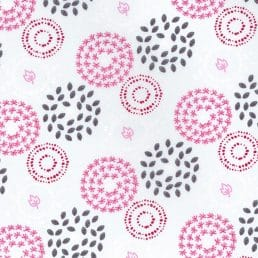 Leaf Circles White Organic Cotton Fabric