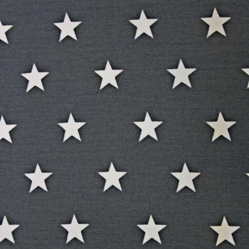 Stars on Charcoal Cotton Fabric