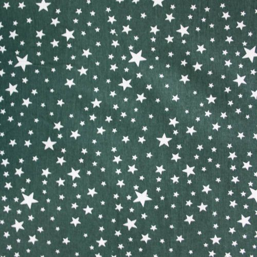 Stars on Dark Green Christmas Cotton