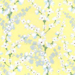 Blossoms on Lemon Cotton Fabric