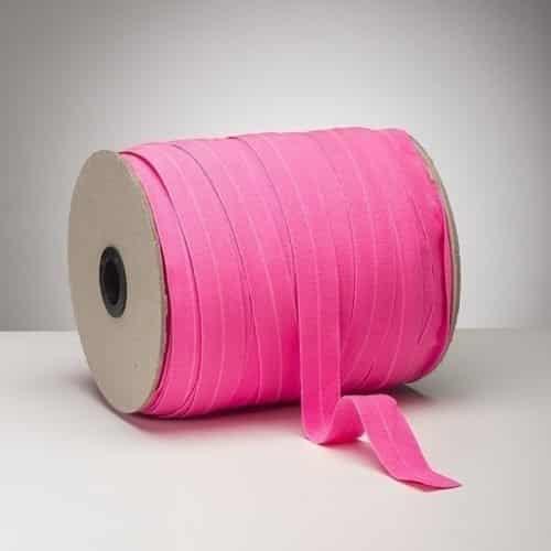 Latex Free 25mm ProStretch™ Plush Fold Over Elastic (FOE) - Neon Pink