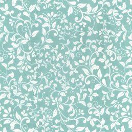 Leaf Scroll Aqua Cotton Fabric